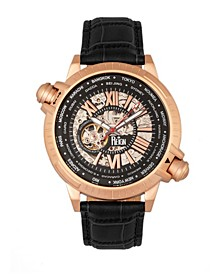 Thanos Automatic Black Dial, Rose Gold Case, Genuine Black Leather Watch 47mm