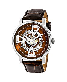 Reign Belfour Automatic Silver Case, Genuine Brown Leather Watch 44mm