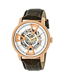 Reign Belfour Automatic Rose Gold Case, Genuine Brown Leather Watch 44mm