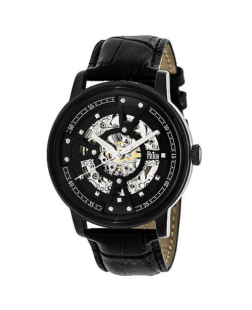 Reign Belfour Automatic Black Case, Genuine Black Leather Watch 44mm