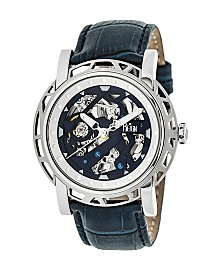 Reign Stavros Automatic Silver Case, Genuine Navy Leather Watch 44mm