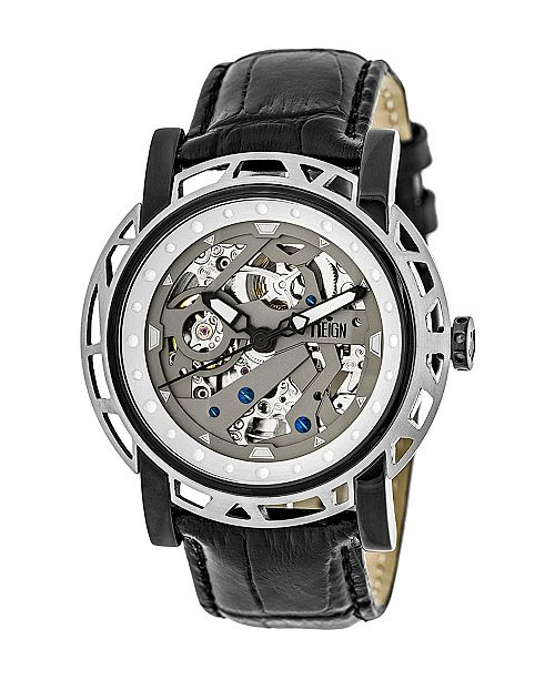 Reign Stavros Automatic Silver Case, Genuine Charcoal Leather Watch 44mm