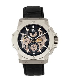 Reign Commodus Automatic Black Dial, Silver Case, Genuine Black Leather Watch 48mm