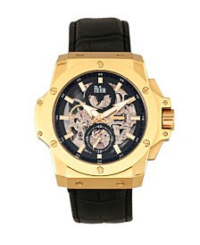 Reign Commodus Automatic Black Dial, Gold Case, Genuine Black Leather Watch 48mm