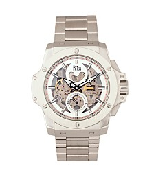 Reign Commodus Automatic Silver Dial, Skeleton Bracelet Stainless Steel Watch 48mm