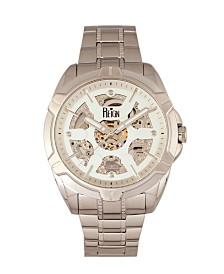 Reign Carlisle Automatic White Dial, Skeleton Bracelet Silver Stainless Steel Watch 45mm