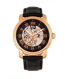 Kahn Automatic Skeleton Rose Gold Case, Genuine Black Leather Watch 45mm