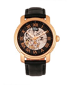 Reign Kahn Automatic Skeleton Rose Gold Case, Genuine Black Leather Watch 45mm