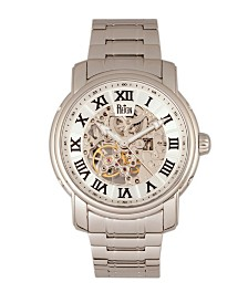 Reign Kahn Automatic White Dial, Skeleton Silver Stainless Steel Watch 45mm