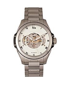 Henley Automatic White Dial, Semi-Skeleton Silver Stainless Steel Watch 44mm