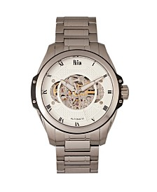 Reign Henley Automatic White Dial, Semi-Skeleton Silver Stainless Steel Watch 44mm