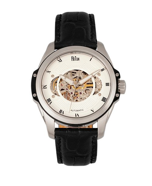 Reign Henley Automatic Semi-Skeleton White Dial, Genuine Black Leather Watch 44mm
