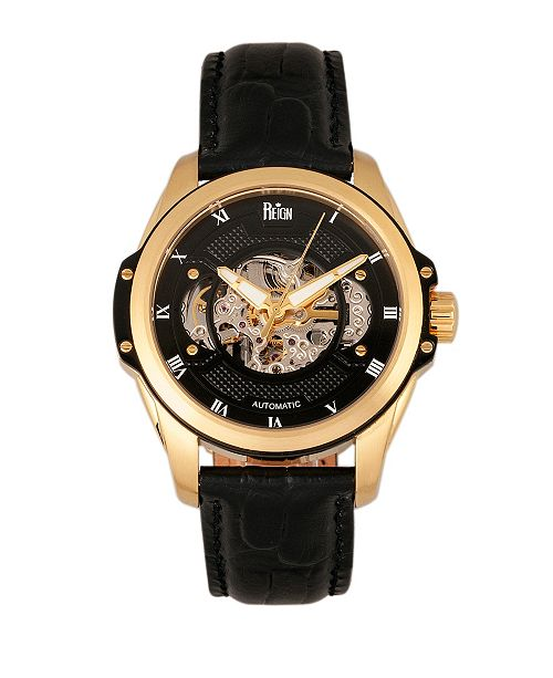 Reign Henley Automatic Semi-Skeleton Gold Case, Genuine Black Leather Watch 44mm