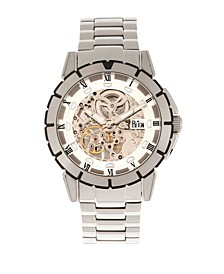 Philippe Automatic White Dial, Skeleton Bracelet Stainless Steel Watch 41mm