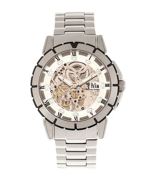 Reign Philippe Automatic White Dial, Skeleton Bracelet Stainless Steel Watch 41mm