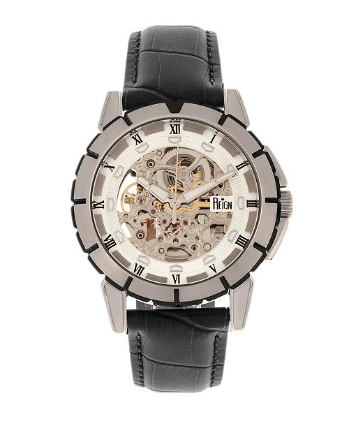 Reign Philippe Automatic White Dial, Genuine Black Leather Watch 41mm