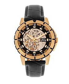 Philippe Automatic Rose Gold Case, Black Dial, Genuine Black Leather Watch 41mm