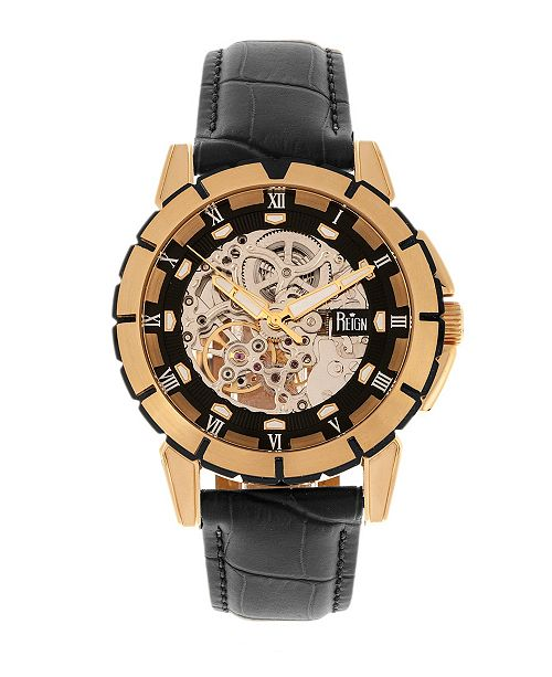 Reign Philippe Automatic Rose Gold Case, Black Dial, Genuine Black Leather Watch 41mm