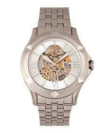 Reign Dantes Automatic White Dial, Skeleton Dial Silver Stainless Steel Watch 47mm