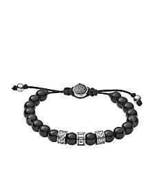 Diesel Men's Stainless-Steel and Black Line Agate Bead Bracelet