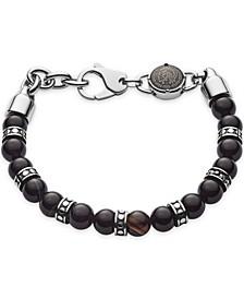 Men's Beaded Black Line Agate Bracelet