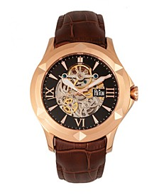 Dantes Automatic Rose Gold Case, Genuine Brown Leather Watch 47mm