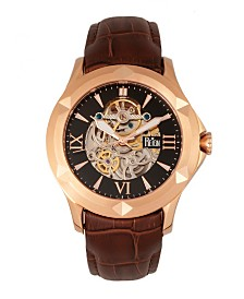 Reign Dantes Automatic Rose Gold Case, Genuine Brown Leather Watch 47mm