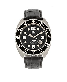 Reign Quentin Automatic Pro-Diver Silver Case, Genuine Leather Watch 45mm