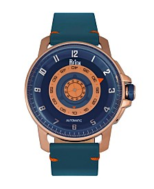 Reign Monarch Automatic Rose Gold Case, Genuine Blue Leather Watch 46mm