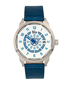 Reign Lafleur Automatic Silver Case, Genuine Blue Leather Watch 45mm