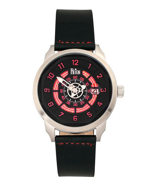 Reign Lafleur Automatic Red Dial, Silver Case, Genuine Black Leather Watch 45mm