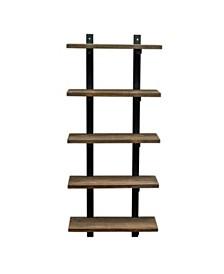 "Alaterre Pomona 48"" H 5-Shelf Metal and Solid Wood Bath Wall Shelf"