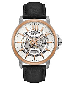 Kenneth Cole New York Men's Leather Strap with Skeleton Automatic Dial, 43.5MM