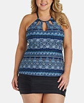0dfbec134e5 Raisins Curve Trendy Plus Size Juniors  Rosalie Printed Strappy-Back  Tankini Top   Ruched