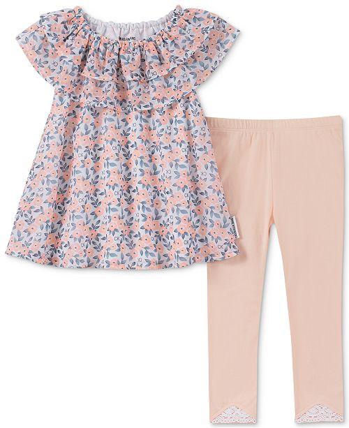 Calvin Klein Baby Girls 2-Pc. Floral-Print Tunic & Leggings Set