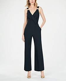 Sleeveless Hardware-Detail Crepe Jumpsuit