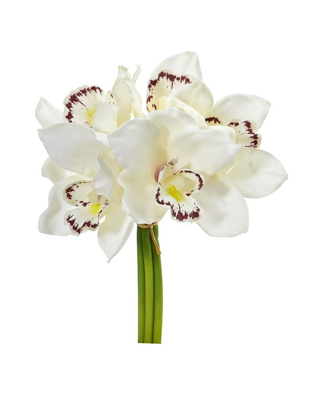 """Nearly Natural 9"""" Cymbidium Orchid Artificial Flower Bundle (Set of 6)"""