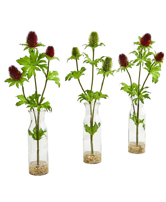 Nearly Natural Thistle Artificial Arrangement in Bud Vase (Set of 3)
