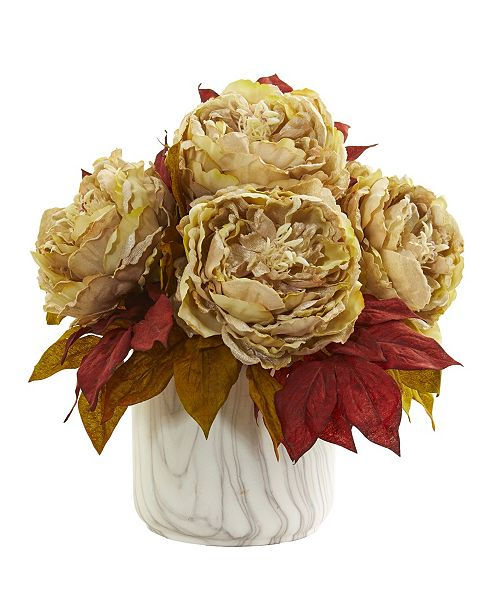 Nearly Natural Peony Artificial Arrangement in Marble Finished Vase