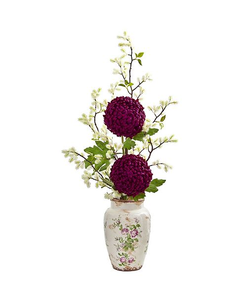 """Nearly Natural 39"""" Mum and Thistle Artificial Arrangement in Floral Vase"""