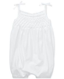 Polo Ralph Lauren Baby Girls Smocked Cotton Shortall