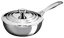Le Creuset Stainless Steel 2-Qt. Saucier Pan with Lid