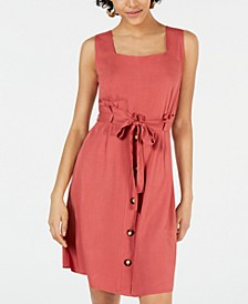 Petite Belted Button-Front Dress