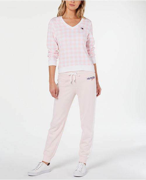 Tommy Hilfiger Gingham Top and Jogger Pants
