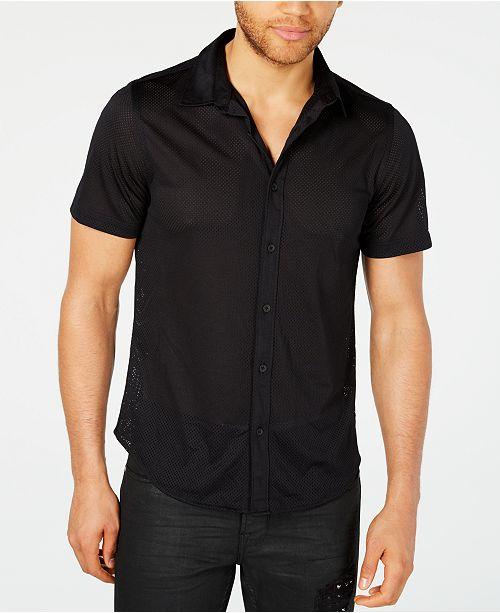 3c9b120e06b8 GUESS Men s Jordan Mesh Shirt   Reviews - Casual Button-Down Shirts ...