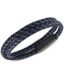 Woven Black and Blue Leather Wrap Bracelet in Black Ion-Plated Stainless Steel, Created for Macy's