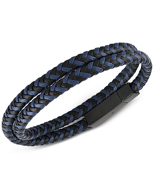 Esquire Men's Jewelry Woven Black and Blue Leather Wrap Bracelet in Black Ion-Plated Stainless Steel, Created for Macy's