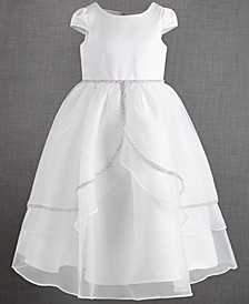 Big Girls Organza Tulip Skirt Overlay Satin Dress