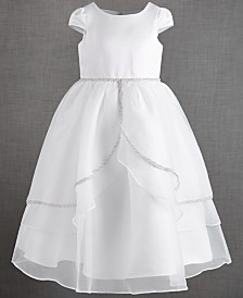 US Angels Big Girls Organza Tulip Skirt Overlay Satin Dress