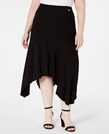 Calvin Klein Plus Size Handkerchief-Hem Midi Skirt